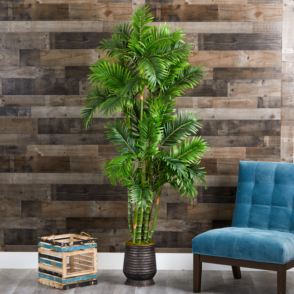 70 Areca Palm Artificial Tree in Ribbed Metal Planter - SKU #T1279 - 2
