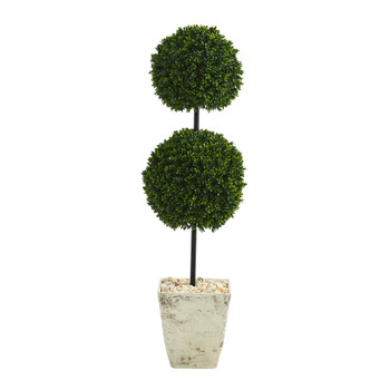 4 Boxwood Double Ball Artificial Topiary Tree in Country White Planter UV Resistant Indoor/Outdoor - SKU #T1280