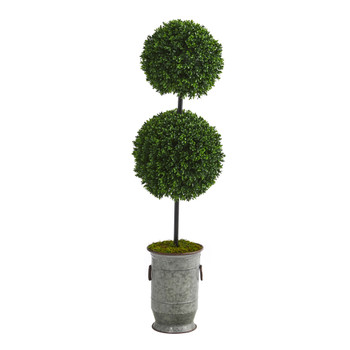 50 Boxwood Double Ball Artificial Topiary Tree in Vintage Metal Planter UV Resistant Indoor/Outdoor - SKU #T1281