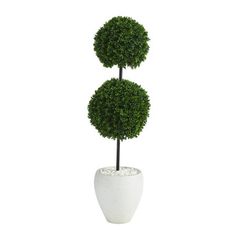4 Boxwood Double Ball Artificial Topiary Tree in White Planter UV Resistant Indoor/Outdoor - SKU #T1282