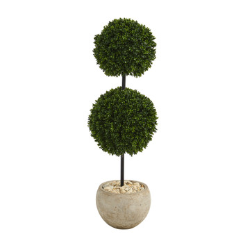 45 Boxwood Double Ball Artificial Topiary Tree in Sand Colored Planter UV Resistant Indoor/Outdoor - SKU #T1283