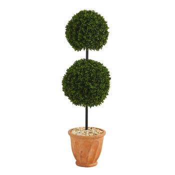 46 Boxwood Double Ball Artificial Topiary Tree in Terra-Cotta Planter UV Resistant Indoor/Outdoor - SKU #T1284