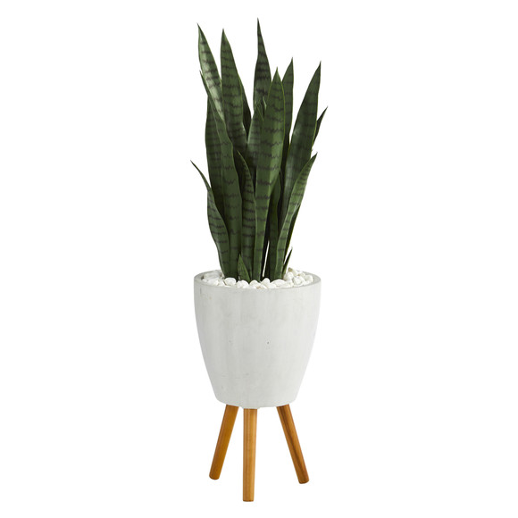 4 Sansevieria Artificial Plant in White Planter with Stand - SKU #T1285