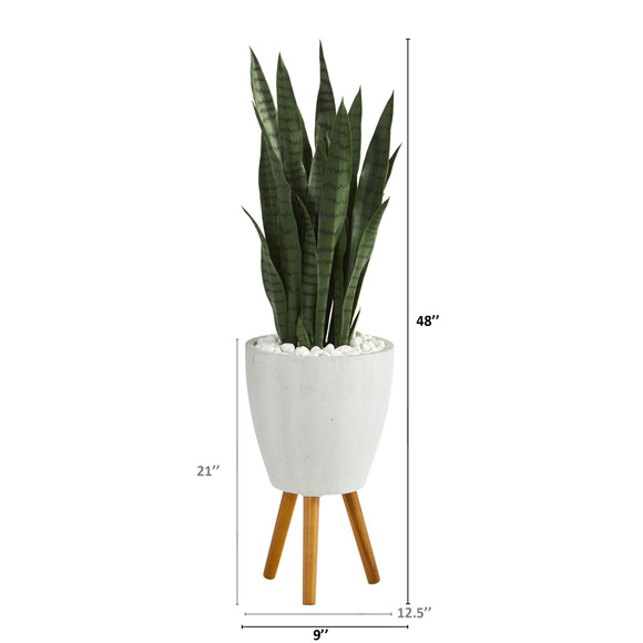 4 Sansevieria Artificial Plant in White Planter with Stand - SKU #T1285 - 1