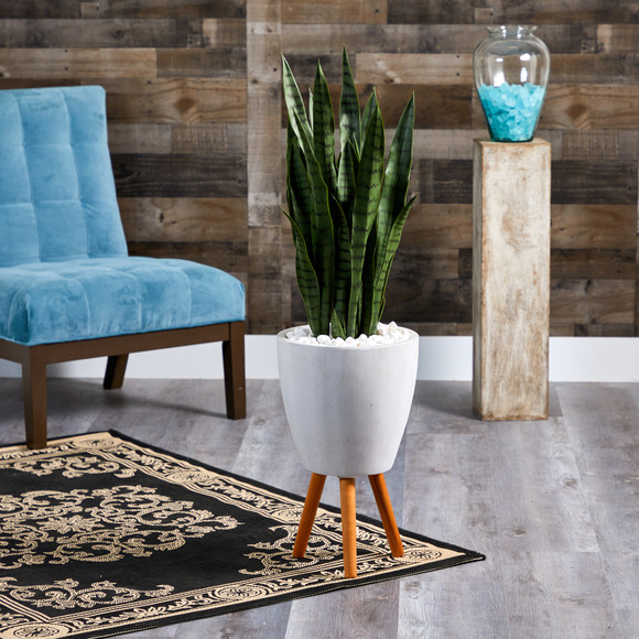 4 Sansevieria Artificial Plant in White Planter with Stand - SKU #T1285 - 2