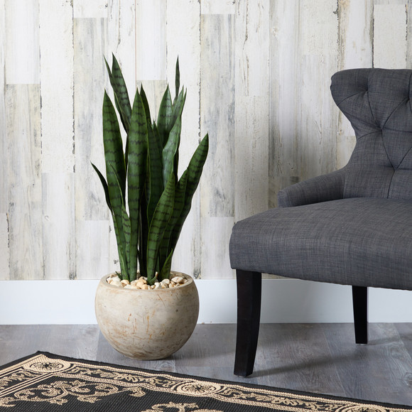 32 Sansevieria Artificial Plant in Sand Colored Planter - SKU #T1287 - 2