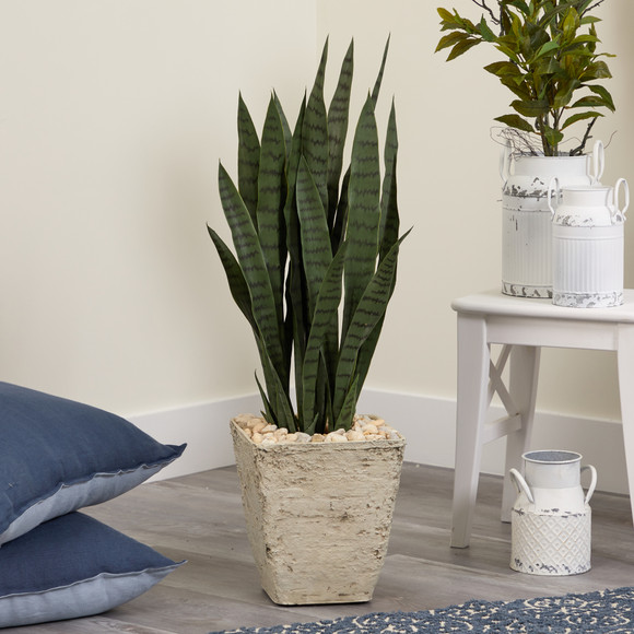34 Sansevieria Artificial Plant in Country White Planter - SKU #T1290 - 2