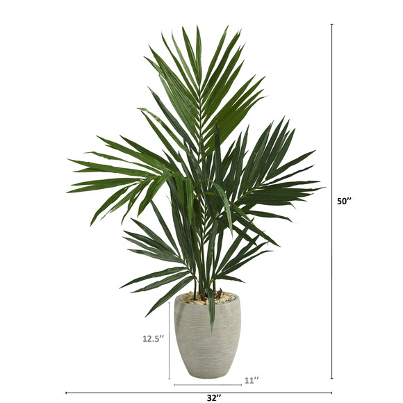 50 Kentia Artificial Palm Tree in Sand Colored Planter - SKU #T1291 - 1