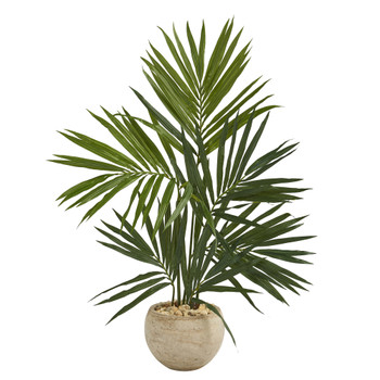 4 Kentia Artificial Palm Tree in Sand Colored Planter - SKU #T1292