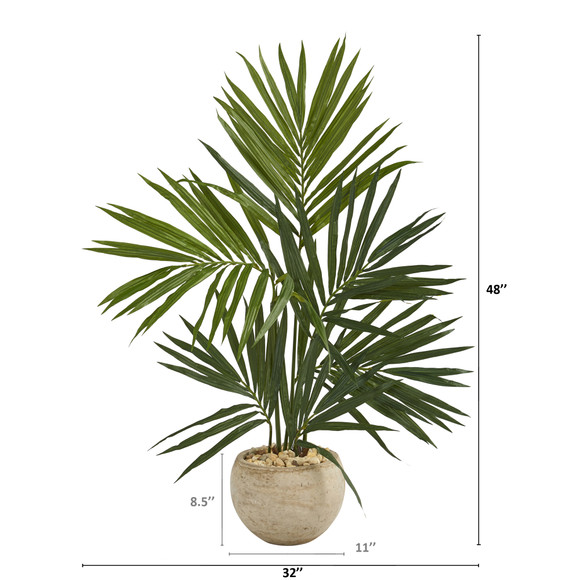 4 Kentia Artificial Palm Tree in Sand Colored Planter - SKU #T1292 - 1