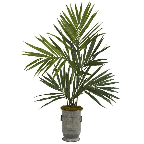 51 Kentia Artificial Palm Tree in Vintage Metal Planter - SKU #T1294