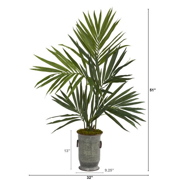 51 Kentia Artificial Palm Tree in Vintage Metal Planter - SKU #T1294 - 1