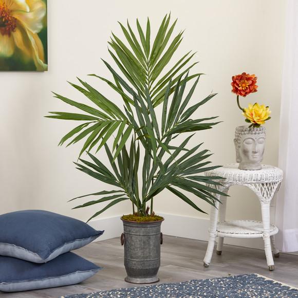 51 Kentia Artificial Palm Tree in Vintage Metal Planter - SKU #T1294 - 2