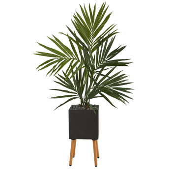 64 Kentia Artificial Palm Tree in Black Planter with Stand - SKU #T1296