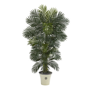 74 Golden Cane Artificial Palm Tree in Decorative Planter - SKU #T1297