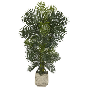 6.5 Golden Cane Artificial Palm Tree in White Planter - SKU #T1298
