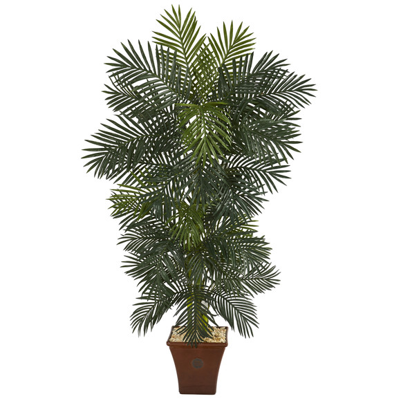 75 Golden Cane Artificial Palm Tree in Brown Planter - SKU #T1299