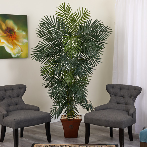 75 Golden Cane Artificial Palm Tree in Brown Planter - SKU #T1299 - 2
