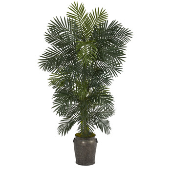 6.5 Golden Cane Artificial Palm Tree in Metal Planter - SKU #T1300