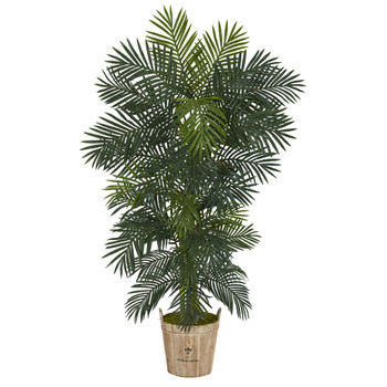 74 Golden Cane Artificial Palm Tree in Farmhouse Planter - SKU #T1301