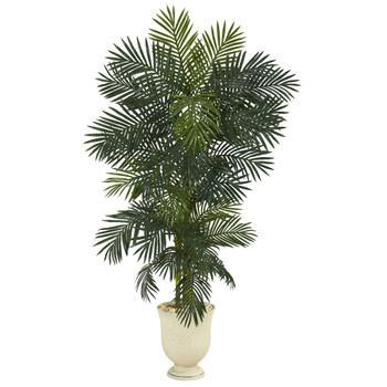80 Golden Cane Artificial Palm Tree in Decorative Urn - SKU #T1302