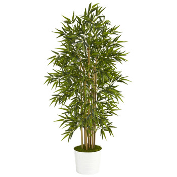 64 Bamboo Artificial Tree in White Tin Planter - SKU #T1306