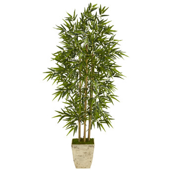 65 Bamboo Artificial Tree in Country White Planter - SKU #T1307