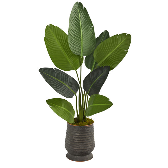 50 Travelers Palm Artificial Tree in Ribbed Metal Planter - SKU #T1308