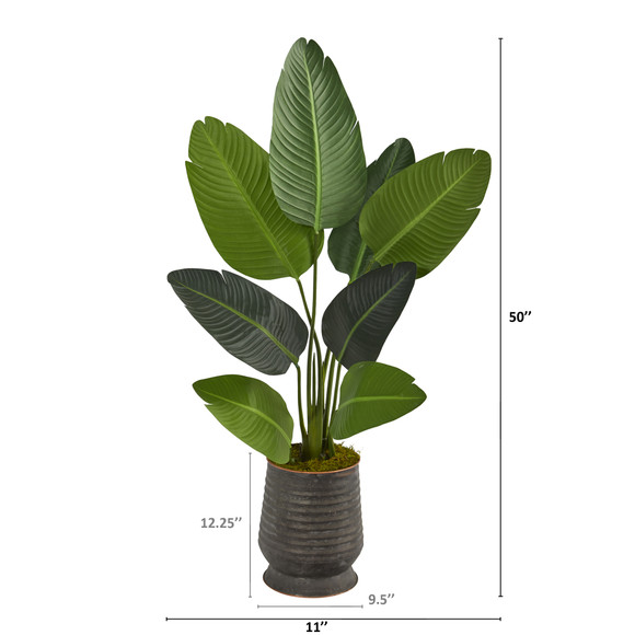 50 Travelers Palm Artificial Tree in Ribbed Metal Planter - SKU #T1308 - 1