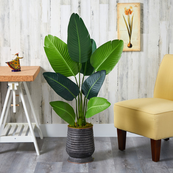 50 Travelers Palm Artificial Tree in Ribbed Metal Planter - SKU #T1308 - 2