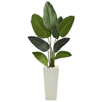 5 Travelers Palm Artificial Tree in Tall White Planter - SKU #T1309