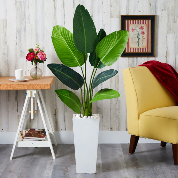 5 Travelers Palm Artificial Tree in Tall White Planter - SKU #T1309 - 2