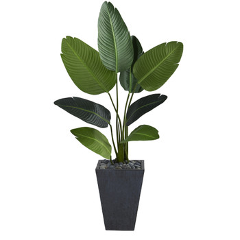 52 Travelers Palm Artificial Tree in Slate Planter - SKU #T1310