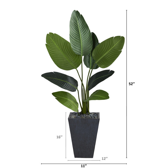 52 Travelers Palm Artificial Tree in Slate Planter - SKU #T1310 - 1