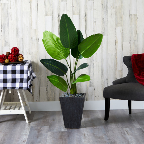52 Travelers Palm Artificial Tree in Slate Planter - SKU #T1310 - 2