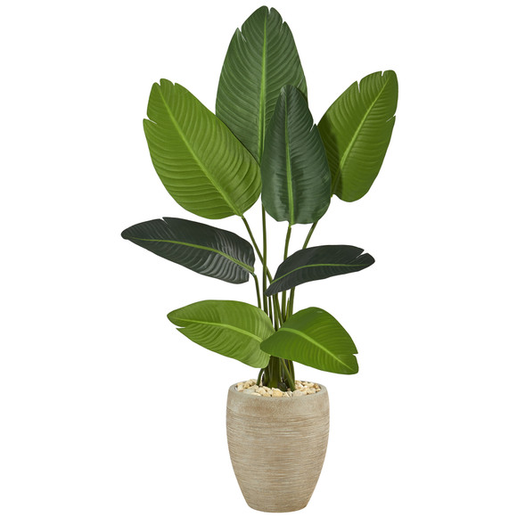 50 Travelers Palm Artificial Tree in Sand Colored Planter - SKU #T1312