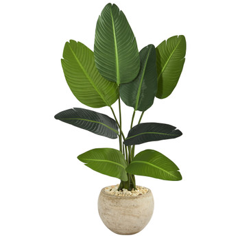 45 Travelers Palm Artificial Tree in Sand Colored Planter - SKU #T1313