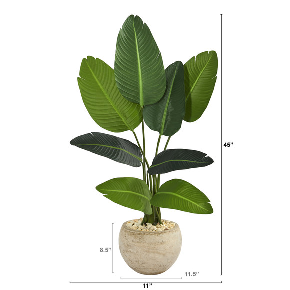 45 Travelers Palm Artificial Tree in Sand Colored Planter - SKU #T1313 - 1