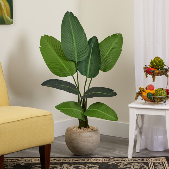 45 Travelers Palm Artificial Tree in Sand Colored Planter - SKU #T1313 - 2