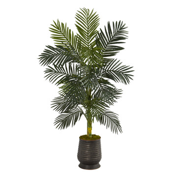 62 Golden Cane Artificial Palm Tree in Ribbed Metal Planter - SKU #T1314