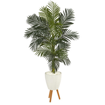6 Golden Cane Artificial Palm Tree in White Planter with Stand - SKU #T1315