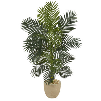 5 Golden Cane Artificial Palm Tree in Sandstone Planter - SKU #T1316