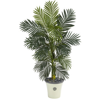 5 Golden Cane Artificial Palm Tree in Decorative Planter - SKU #T1317