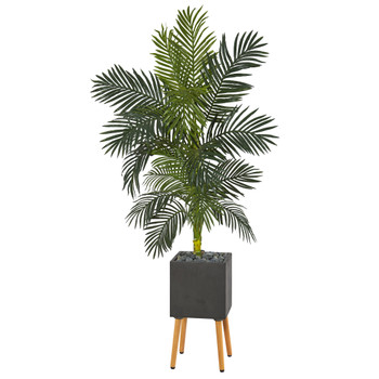 6 Golden Cane Artificial Palm Tree in Black Planter with Stand - SKU #T1318