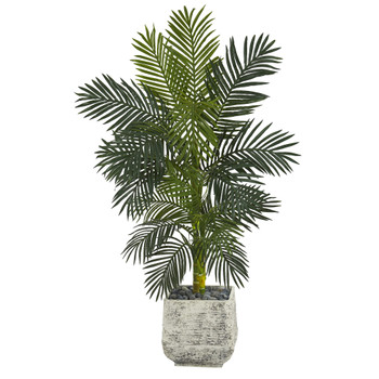 5 Golden Cane Artificial Palm Tree in White Planter - SKU #T1319