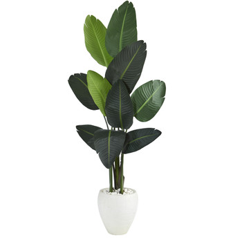 63 Travelers Palm Artificial tree in White Planter - SKU #T1320