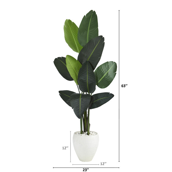 63 Travelers Palm Artificial tree in White Planter - SKU #T1320 - 1