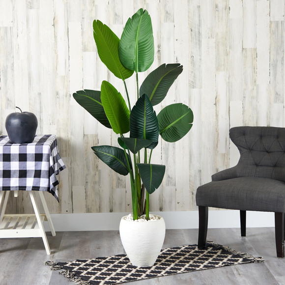 63 Travelers Palm Artificial tree in White Planter - SKU #T1320 - 2