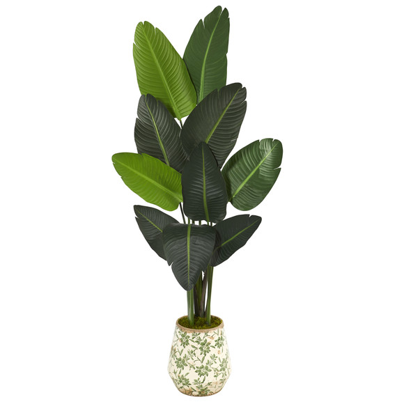 64 Travelers Palm Artificial tree in Floral Print Planter - SKU #T1321