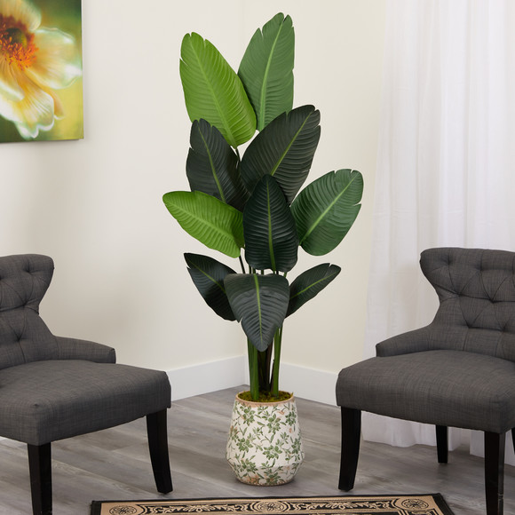 64 Travelers Palm Artificial tree in Floral Print Planter - SKU #T1321 - 2
